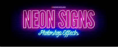 Neon Photoshop Behance Effects Retro Signs Lyrics