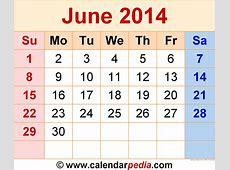 June 2014 Calendars for Word, Excel & PDF