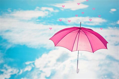 Wallpaper Umbrella by Pink Umbrella In The Sky Hd Wallpaper Background Image