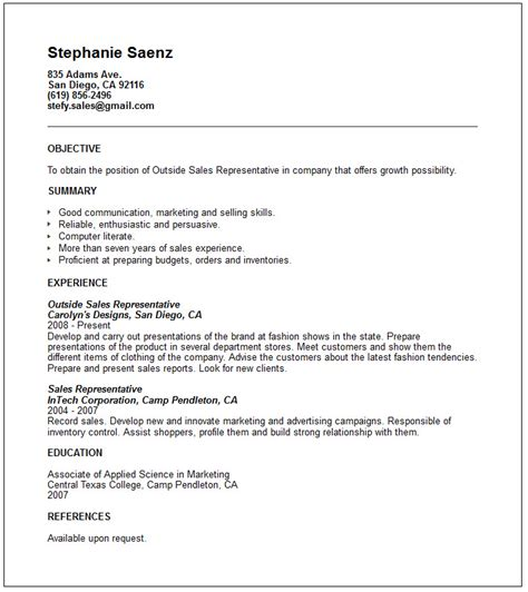 Sle Resume Template Outside Sales Resume Template Resume Builder