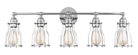 edison bulb vanity light rustic vanity lights chrome edison nautical 5 light cage