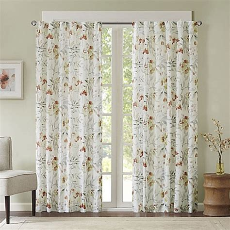floral window curtains meg floral rod pocket back tab window curtain panel bed