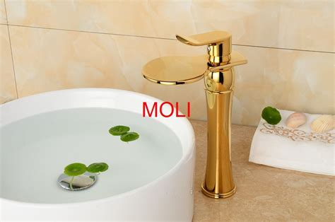 Bathroom Waterfall Faucet Chrome Oil-rubbed Bronze And Gold Finish Tall Faucets Single Handle