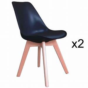 Chaise Scandinave Rouge : deco in paris 8 lot de 2 chaises scandinave noir gala gala noir x2 ~ Preciouscoupons.com Idées de Décoration
