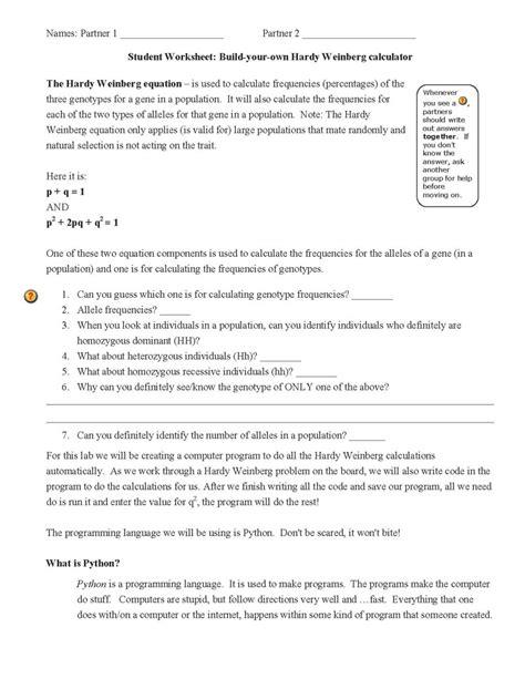 worksheets hardy weinberg practice problems worksheet