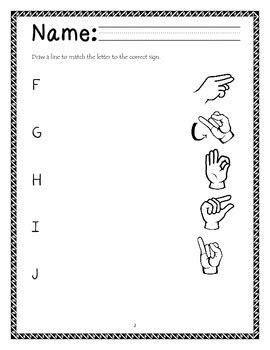 Sign Language Worksheets  Kidz Activities