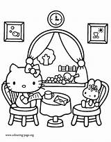 Coloring Kitty Hello Colouring Printable Pages Restaurant Books Lunch Friend Fun Sheets Cartoon Characters Having Popular Kity Valentine Minions Colour sketch template
