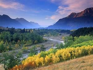 Alberta, Canada, Mountain, Stream, Mountains, With, Rocky, Peaks