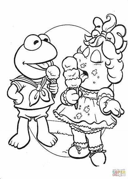 Coloring Ice Cream Pages Eating Piggy Miss