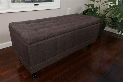 Large Fabric Ottomans by Large Tufted Storage Ottoman Chocolate Brown Fabric Bench