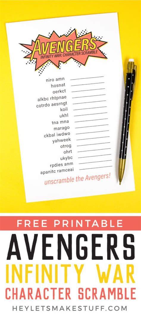 printable avengers infinity war game character