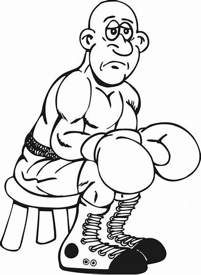 Boxing Coloring Sad Pages Clipart Colouring Cliparts
