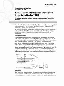 New Capabilities For Fast Craft Analysis With Hydrocomp
