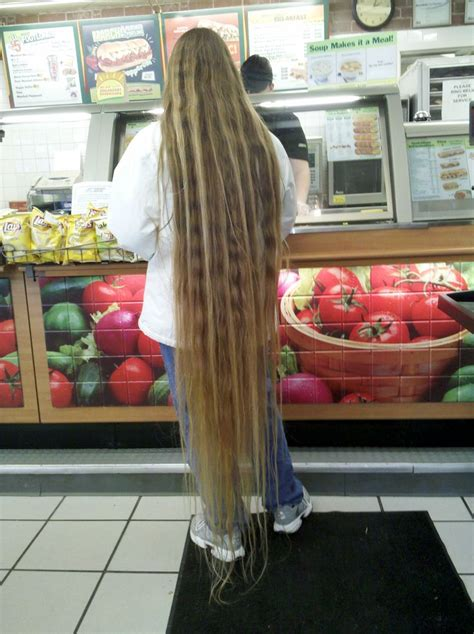 Long Blonde Hair Down To The Floor Long Hair In Public
