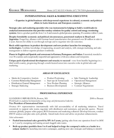 Sales Manager Resume Templates Word by Sle Sales Manager Resume 9 Exles In Word Pdf