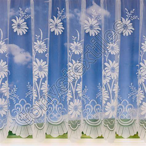 Daisy Floral Net Curtain White   Tony's Textiles   Tonys