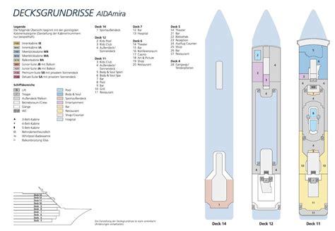 aidamira deckplan kabinen schiffe und kreuzfahrten
