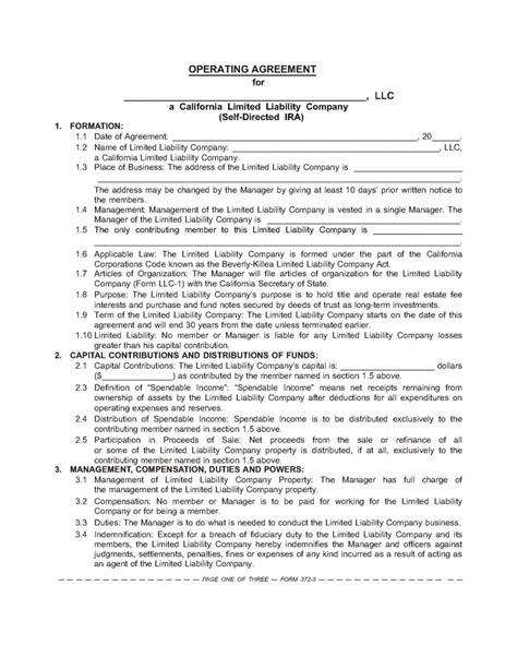 Ira Llc Operating Agreement Template by Self Directed Ira Llc Operating Agreement How To Retire