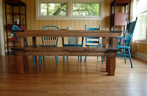 farmhouse table bench diy mismatched chairs for the home