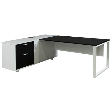 Morgan Executive Left Return Melamine L Shape Desk Black