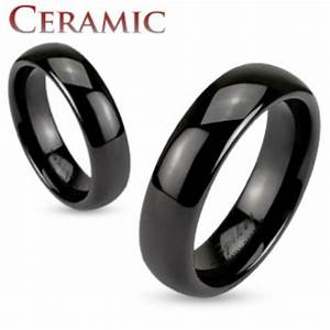 mens womens black ceramic dome 6mm traditional wedding With mens wedding ring sizes