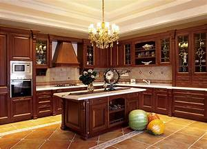 Moderne solides armoires de cuisine en bois style européen