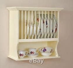 country kitchen plate rack holder dish cup bowl shelf unit wall mounted
