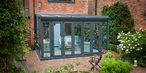 grey lean  conservatory grey aluminium bi folding
