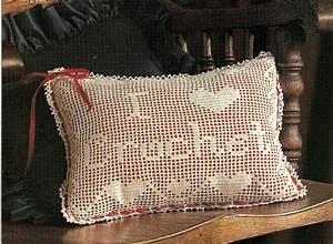 Lovely I Love Crochet Filet Pillow  Doily  Crochet Pattern