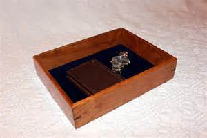 men s valet box wooden tray or dresser box cherry with