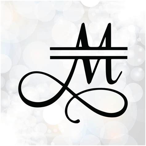 split monogram font alphabet samantha font split letters digital cutting file svg eps dxf