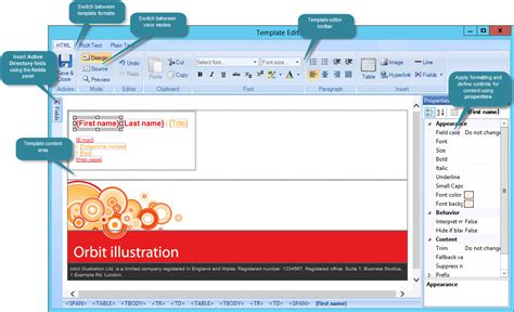 template editor exclaimer template editor understanding the template editor window