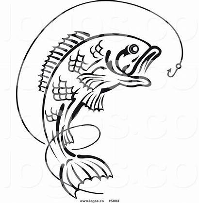 Fish Drawing Hook Bass Outline Fishing Clip