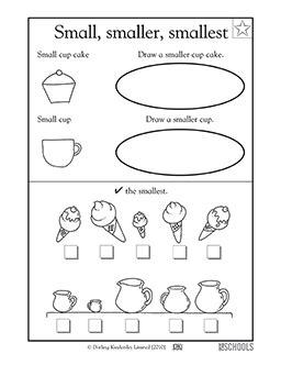 kindergarten preschool math worksheets small smaller