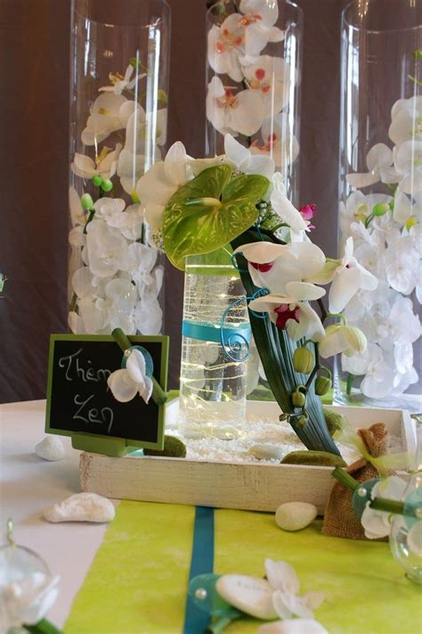 centre de table mariage theme zen turquoise vert anis