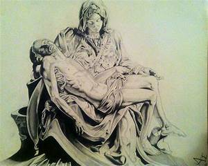 Drawing Of Michael Angelos Sculpture The Pieta Drawing by ...
