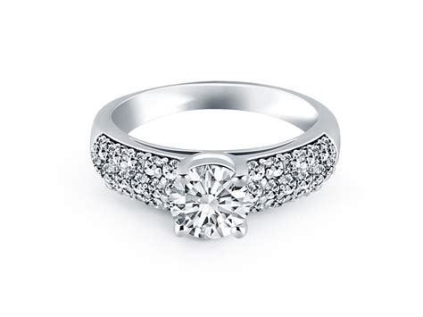 Tapered Pave Diamond Wide Band Engagement Ring In 14k