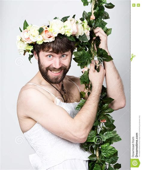 Bearded Man In A Woman S Wedding Dress On Her Naked Body
