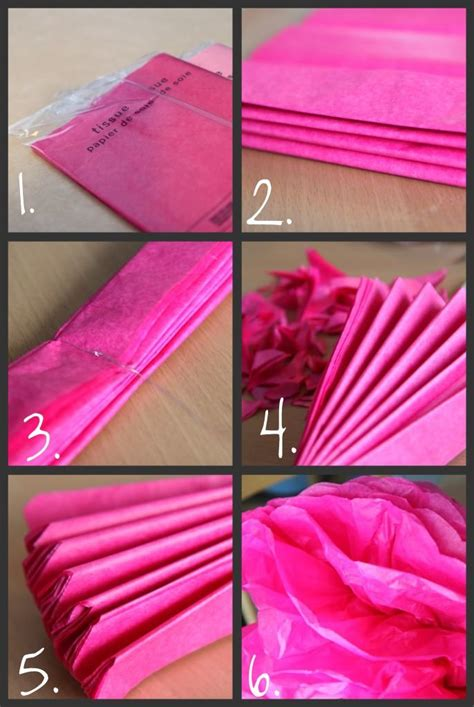 Tissue Paper Pom Pom Tutorial Craft Ideas Pinterest