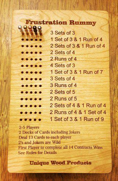 Check spelling or type a new query. Games and Game Accessories - Frustration Rummy Boards - Unique Wood Products | Family card games ...