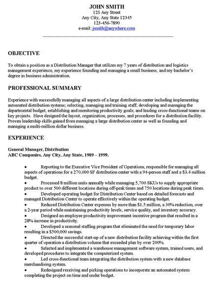 exles of resume general objectives general resume