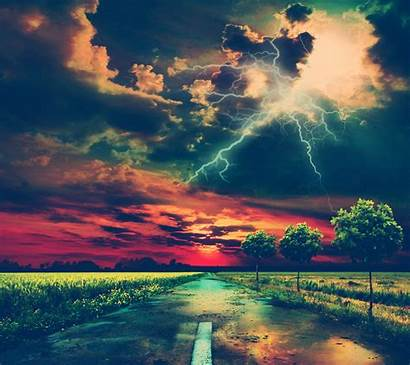 Storm Lightning Wallpapers Landscape Road Desktop Background