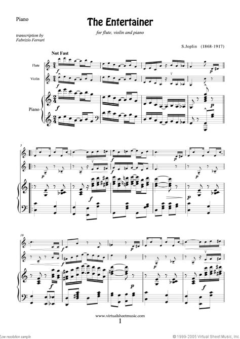 Digital print instrumental solo in f major. Joplin - The Entertainer sheet music for flute, violin and piano
