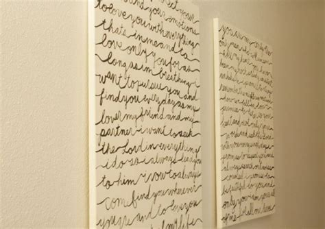 Diy Script Wall Art. Wedding Vows To Hang In The Master