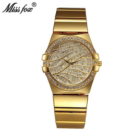 designer watches for miss fox weave gold brand quartz golden