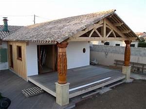 maison a ossature bois espaces systemes bois With terrasse couverte en bois
