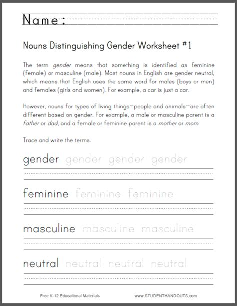 nouns distinguishing gender worksheet 1