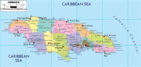 political map  jamaica ezilon maps