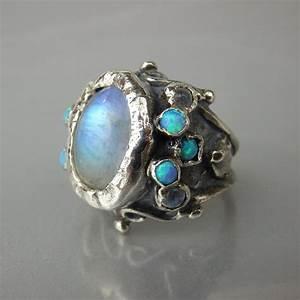 Moonstone Statement Ring Moonstone Opal Ring Rainbow