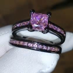 pink wedding ring set wieck princess pink sapphire simulated 10kt black gold filled wedding band ring